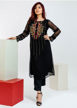 Change Embroidered Chiffon Stitched 3 Piece Suit Ck2155 Black