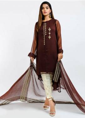 Change Embroidered Chiffon Stitched 2 Piece Suit Ck2156 Brown