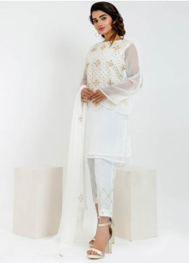 Change Embroidered Chiffon Stitched 2 Piece Suit Ck2159 White