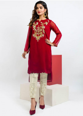 Change Embroidered Chiffon Stitched Kurtis CK2180 Maroon