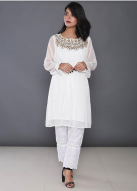 Change Embroidered Chiffon Stitched Kurtis CK2183 White