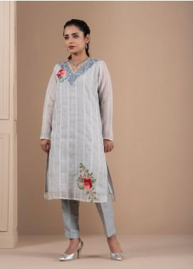 Change Embroidered Chiffon Stitched 2 Piece Suit CK2189 Grey