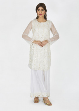 Change Embroidered Chiffon Stitched 3 Piece Suit CK2199 White