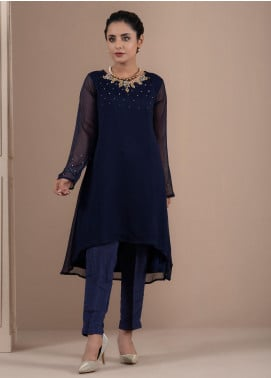 Change Embroidered Chiffon Stitched 2 Piece Suit CK2225 Navy