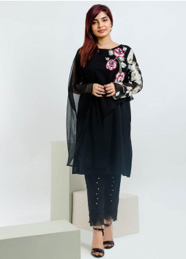 Change Embroidered Chiffon Stitched Kurtis CW1813 Black