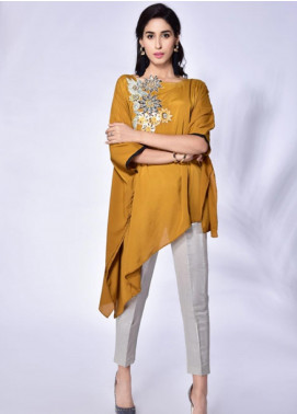 Change Embroidered Crepe Stitched Kurtis CW1815 Mustard