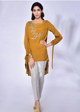 Change Embroidered Crepe Stitched Kurtis CW1819 Mustard