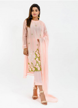 Change Embroidered Chiffon Stitched 3 Piece Suit ECH105 Pink