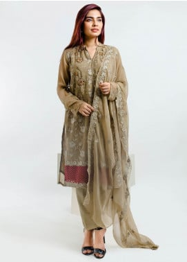 Change Embroidered Chiffon Stitched 3 Piece Suit ECH109 Beige