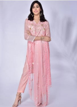 Change Embroidered Chiffon Stitched 3 Piece Suit ECH121 Pink
