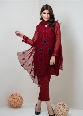 Change Embroidered Chiffon Stitched 3 Piece Suit ECH126 Maroon