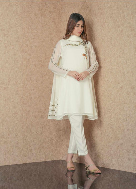Change Embroidered Chiffon Stitched 3 Piece Suit CK2290 White