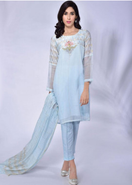 Change Embroidered Khaadi Net Stitched 3 Piece Suit CK2173