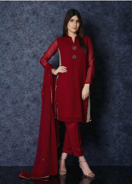 Change Embroidered Chiffon Stitched 3 Piece Suit CK2261 Maroon