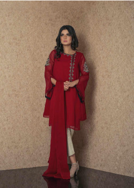 Change Embroidered Chiffon Stitched 2 Piece Suit CK2295 Maroon