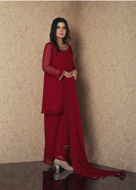 Change Embroidered Chiffon Stitched 3 Piece Suit CK2310 Maroon