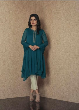 Change Embroidered Chiffon Stitched 2 Piece Suit CK2314 Emrald Green