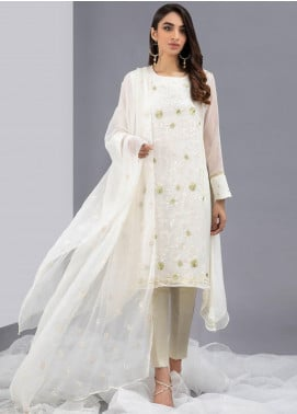 Change Embroidered Chiffon Stitched 2 Piece Suits CK2331 Ivory