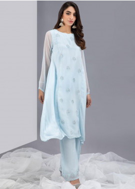 Change Embroidered Chiffon Stitched 2 Piece Suits CK2333 Chambray Blue