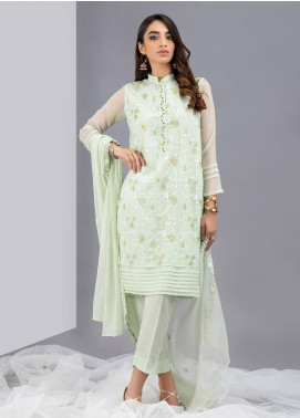 Change Embroidered Chiffon Stitched 3 Piece Suits CK2347 Mint Green