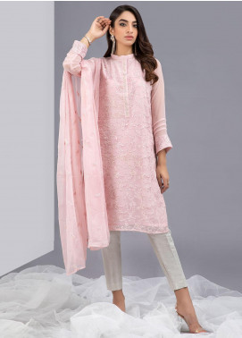 Change Embroidered Chiffon Stitched 2 Piece Suits ECH153 Tea Pink