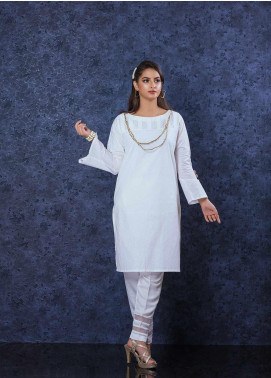 Change Plain Cotton Stitched Kurtis CB-76 White