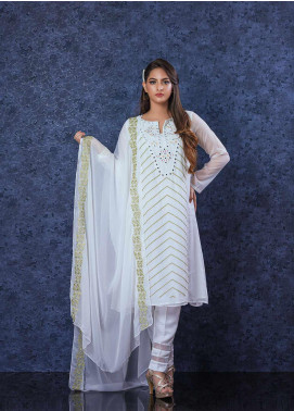 Change Embroidered Chiffon Stitched 2 Piece Suit CK-2254 White