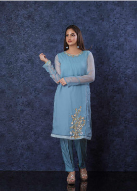 Change Embroidered Chiffon Stitched 2 Piece Suit CK-2283 ASH BLUE