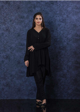 Change Plain Georgette Stitched Kurtis CW -1860 Black