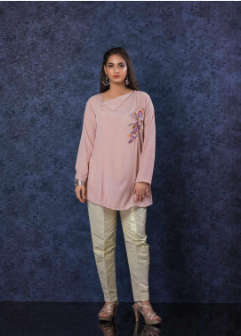 Change Embroidered Georgette Stitched Kurtis CW-1814 Tea Pink