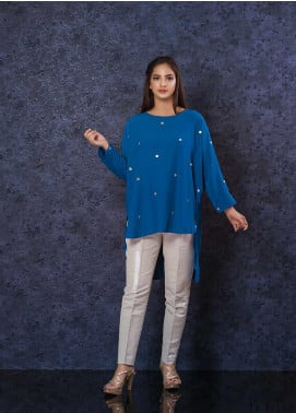 Change Embroidered Georgette Stitched Kurtis CW-1856 Blue