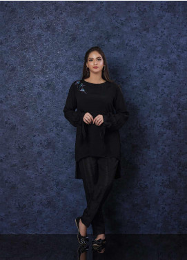 Change Plain Georgette Stitched 2 Piece Suit CW-1858 Black