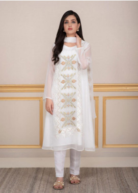 Change Embroidered Chiffon Stitched 3 Piece Ladies 3Pc Suit CK2235 White-S
