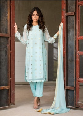 Change Embroidered Chiffon Stitched 3 Piece Ladies 3Pc Suit CK22957 Mint-XL