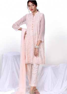 Change Embroidered Chiffon Stitched 3 Piece Ladies 3Pc Suit ECH145 Powder Pink-S