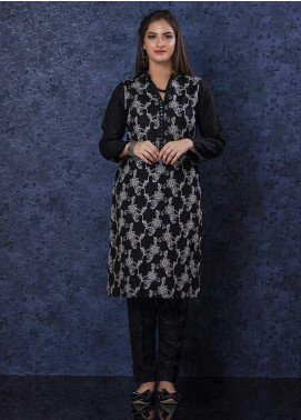 Change Embroidered Chikankari Stitched Kurties Ladies Kurti CK2302 Black-S