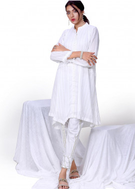 Change Embroidered Lawn Stitched Kurties Ladies Kurti CK2329 White-S