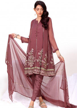 Change Embroidered Chiffon Stitched 3 Piece Suit CK2281 Rose Wood