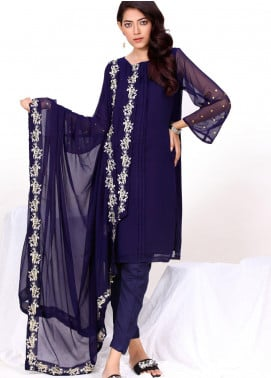 Change Embroidered Chiffon Stitched 3 Piece Suit CK2284 Navy