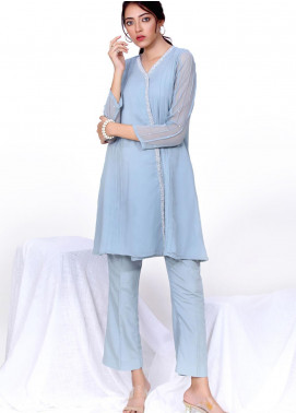 Change Embroidered Chiffon Stitched 2 Piece Suit CK2293 Ash Blue