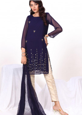 Change Embroidered Chiffon Stitched 2 Piece Suit CK2334 Navy