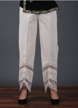 Change Embroidered Cotton Net Stitched Trousers CLP141 BEIGE