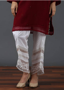 Change Embroidered Cotton Net Stitched Trousers CLP141 WHITE