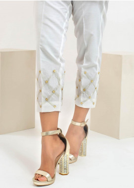 Change Embroidered Cotton Stitched Trousers CLP171 White