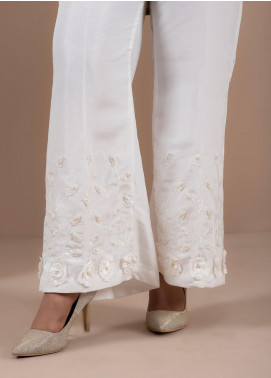 Change Embroidered Cotton Stitched Trousers CLP178 White