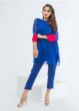 Change Embroidered Chiffon Stitched 2 Piece Suit CK2085 Royal