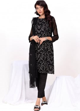 Change Embroidered Chiffon Stitched 3 Piece Ladies 3Pc Suit ECH146 Black-S