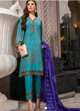 An Evening Affair by Charizma Embroidered Leather Unstitched 3 Piece Suit CRZ20SF 05 Cerulean - Winter Collection