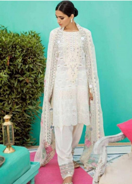 Charizma Embroidered Schiffli Unstitched 3 Piece Suit CRZ19EF 42 WHITE - Festive Collection