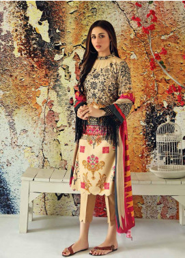Marina Print by Charizma Printed Marina Unstitched 3 Piece Suit CRZ20MP 03 Ivory Tusk - Winter Collection